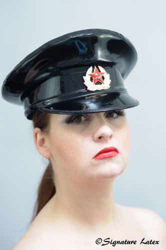 Latex Military Hat in black with Russian cap badge size 57 (E)